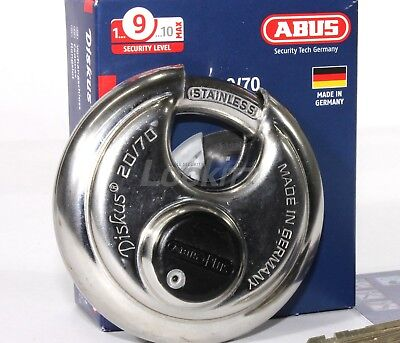 Abus 2070 Diskus Round Padlock With Plus Cylinder - Keyed Different