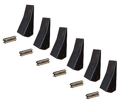 6 Backhoe Skid Mini Ex Bucket Teeth W Pins - 23 230 230sp D51750 Tf23d