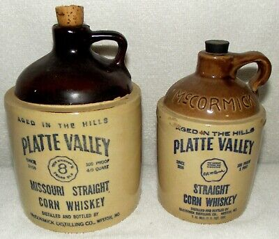 Two Vintage McCormick Distilling Platte Valley Straight Corn Whiskey Jugs EMPTY