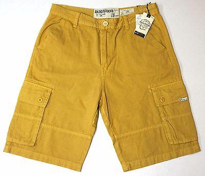 AKOO Brand Cargo Shorts Mens Yellow Fast Shipping 753-0100