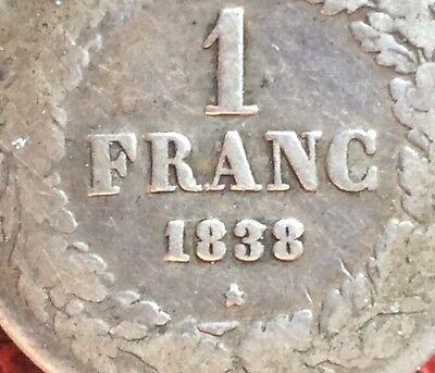Belgique - Léopold Ier - Très Rare et Jolie 1 Franc 1838 - variété ligne dans 3