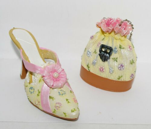 JC Penney PASTEL Pink Cream Floral Pearl HIGH HEEL SHOE & HANDBAG Ornaments