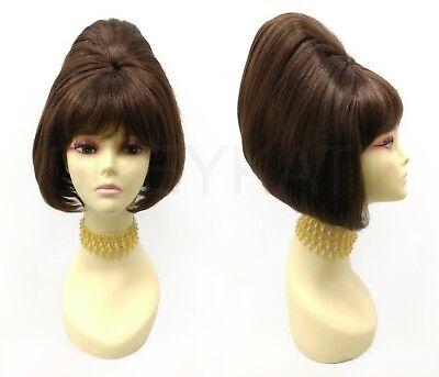 Short Beehive Wig Brown Straight Sixties 60s Retro Vintage Costume 11