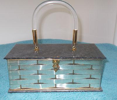 Vintage 50's Silver Purse Evening Bag Dorset Rex Fifth Avenue Lucite Handle Lid