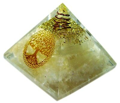 Selenite Gemstone Orgone Pyramid Tree Of Life Reiki Chakra Energy Healing