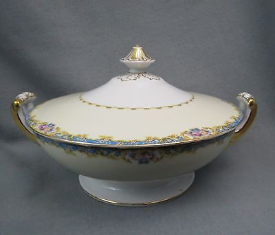 Hinode China COVERED VEGETABLE DISH Blue Band Pink Floral Gold Trim White (Banded Ivory China Serving Bowl)