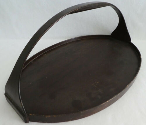 """Vintage Antique Wood Handled Tray 21"""", x 13 3/4"""" Oval"""