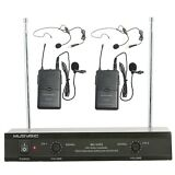 Professional Dual Channel VHF Lapel Lavalier Wireless Microphone System MUSYSIC