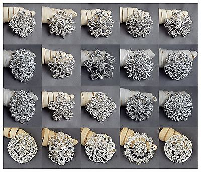 20 Brooch Lot Sliver Rhinestone Crystal Pin Wedding Bouquet DIY Kit Wholesale