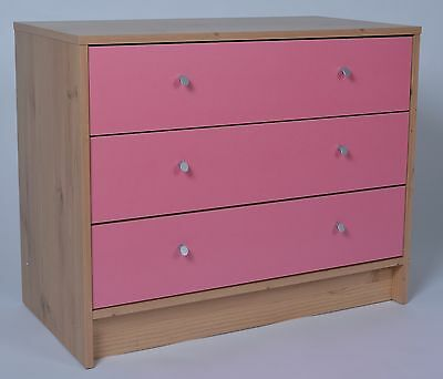 Madison 3 Drawer Chest in Pine & Pink Effect