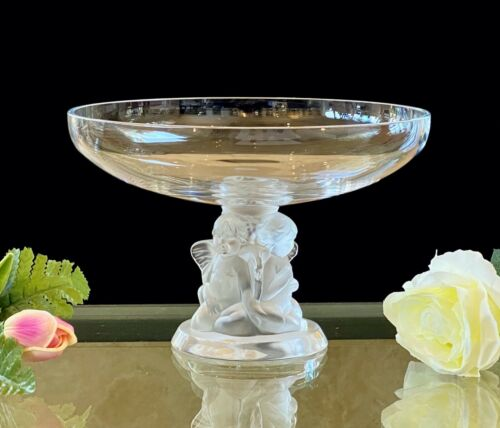 Lalique Crystal Angelots Compote (Elevated Bowl) Stunning c1990