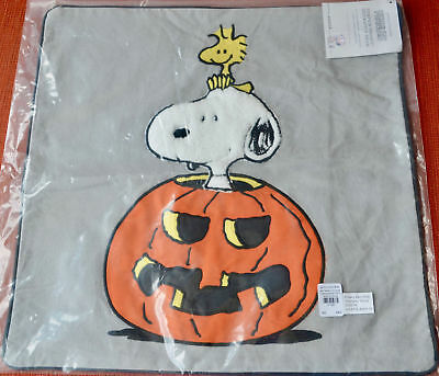 Pottery Barn Kids Peanuts Snoopy Woodstock Pumpkin Halloween Pillow Cover Sham