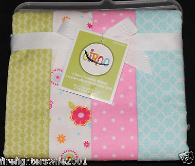 Circo Flannel Receiving Blankets baby girl 4 blankets new