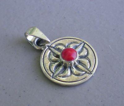 Elegant Tibetan Pendant w/ 925 Sterling Silver Dorje Motif Coral Accent Stone