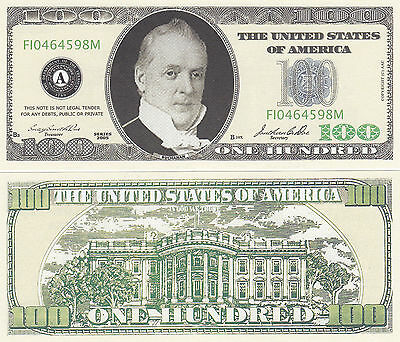 Two Casino Style $100 Buchanan Novelty Money Bills #224 - Casino Style