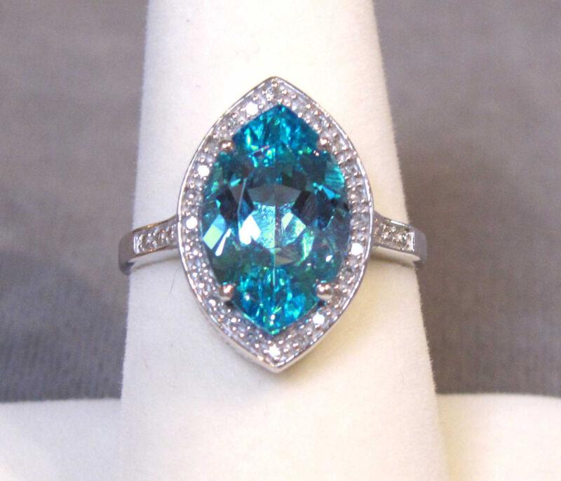 Modern 10K White Gold Marquise Swiss Blue Topaz & Diamond Ring - Sz. 7