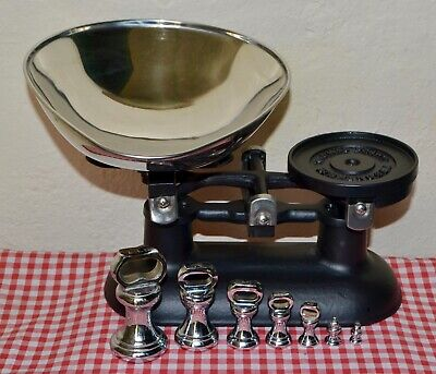 "VINTAGE ENGLISH BLACK ""THOMAS PLANT"" KITCHEN SCALES 7 CHROME BELL WEIGHTS"