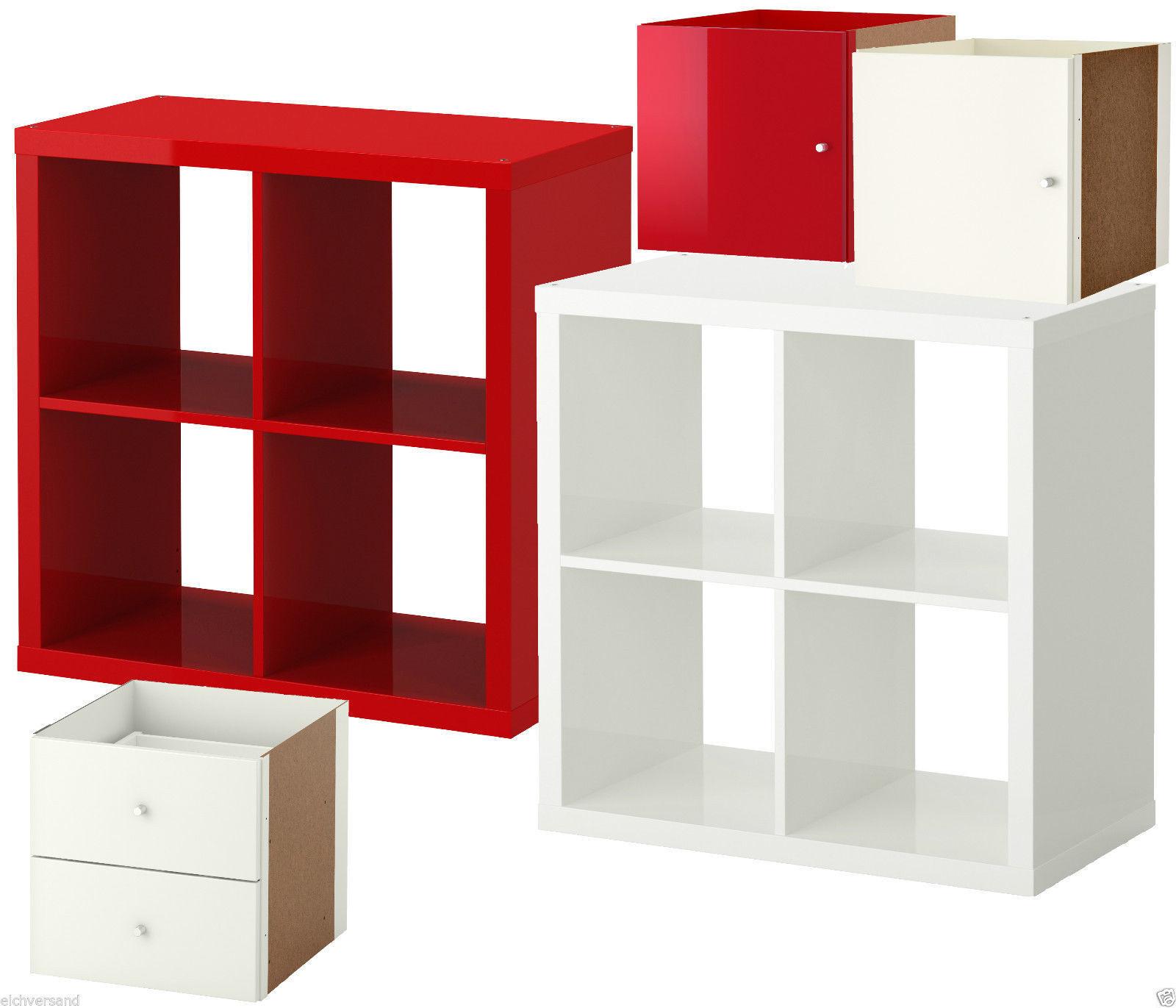 Ikea Kallax Regal Hochglanz Rot Weiss 4 Fach Tur Schublade Ehem
