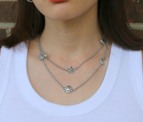 "Judith Ripka 36"" Sterling Silver 925 Sun Moon Star Necklace 41grams"