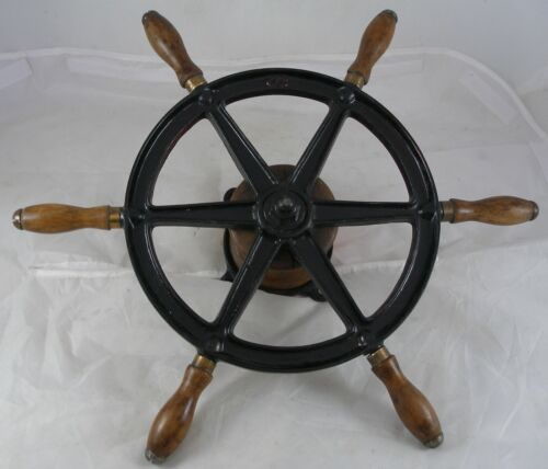 "Antique Steel Wilcox Crittenden 16.5"" Ship wheel mahogany handles Nautical gifts"