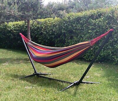 Stripey Design Outdoor Garden Hammock with Stand Simple Set Up