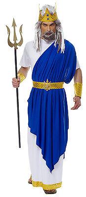 ADULT NEPTUNE ATLANTIS POSEIDON KING ROMAN GREEK GOD MENS COSTUME WHITE BLUE - Neptune Costume