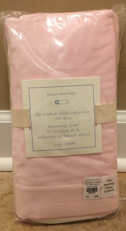 NEW Pottery Barn Kids Baby Washed Velvet Crib Skirt PINK