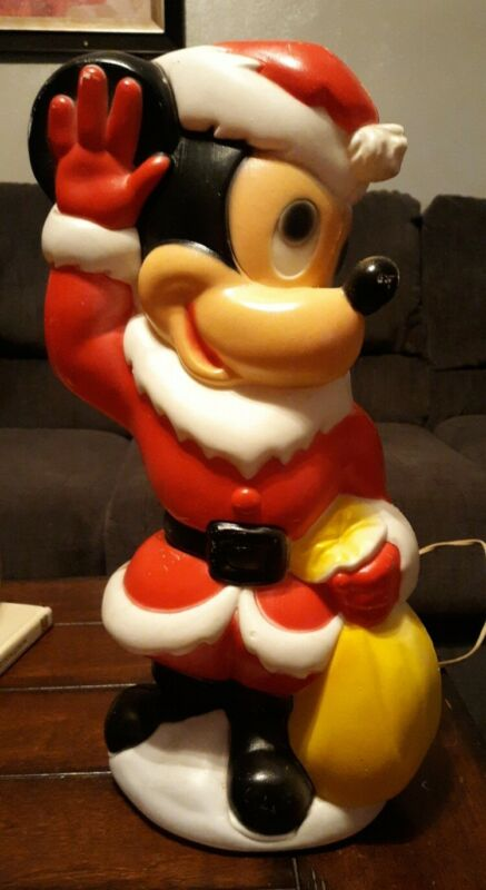 Vintage Mickey Mouse Disney Blow Mold Christmas Santa w/ Sack 15 inches Tall