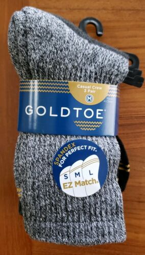 Gold Toe Boys 3-PAIR Casual Crew Socks SHOE SIZE 9-2.5 Black