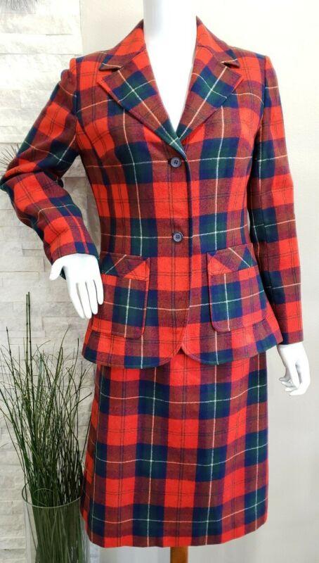Vintage Pendleton Wool Red Tartan Plaid Skirt Suit 2 Piece Women Size 10