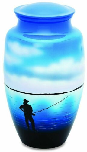 Fisherman Fishing 3 Cubic Inches Small/Keepsake Funeral Cremation Urn for Ashes