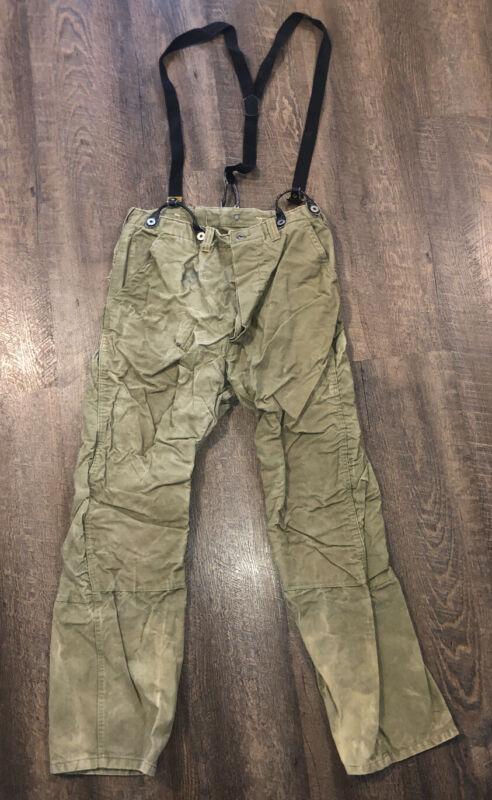 "1950's Vintage Hirsch Weis Tin Cloth Pants Hunting Workwear Suspenders 32"" x 31"""