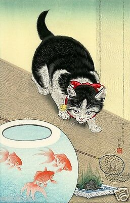 OHARA KOSON Shoson JAPANESE Woodblock Print SHIN HANGA - Cat & Goldfish Bowl