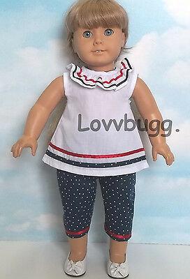 "Lovvbugg Cute Red-W-Blue Capri Set for 18"" American Girl Doll Accessory"