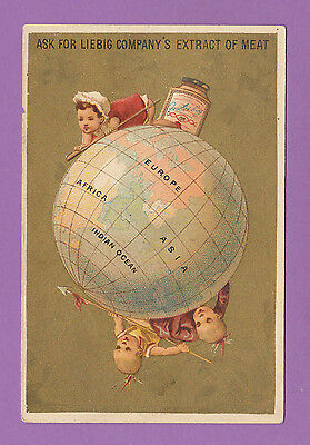 LIEBIG  -  EXTREMELY RARE CARD - S.141 CHILDREN ON GLOBES  ( ENGLISH ) - 1883