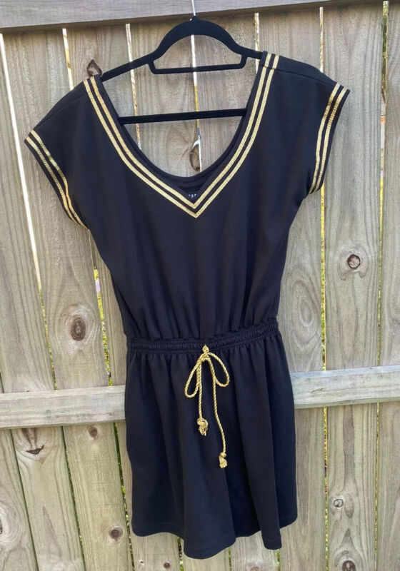 Women's Vtg Romper Jumpsuit  Wear Abouts Black And Gold Size Small 70's 80's