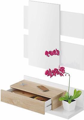 Mobile da ingresso sospeso bianco rovere legno con specchio e cassetto mensola