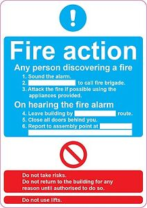 FIRE ACTION Assembly Point health and safety signs stickers  205x290mm