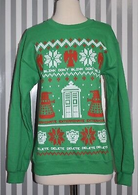 Doctor Who Ugly Sweater (NWT Doctor Who Bright Green Don't Blink Tardis Dalek Ugly Christmas Sweater SZ)