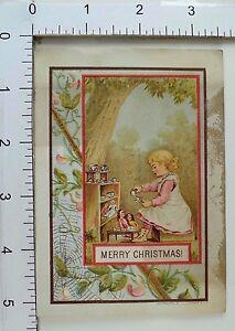 Tarjeta-de-comercio-de-navidad-victoriana-Telarana-Adorable-Nina-Te-Tiempo-Munecas-fuera-A