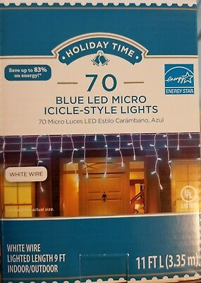 (70 BLUE micro led icicle lights white wire lighted length 9 ft. NEW )