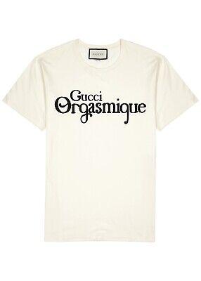 Gucci Orgasmique Logo T-Shirt. Ivory. Size S