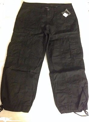 ((New with Tags) NORMA KAMALI Cropped Cargo Capri Pants 100% Cotton Size 10 Black)