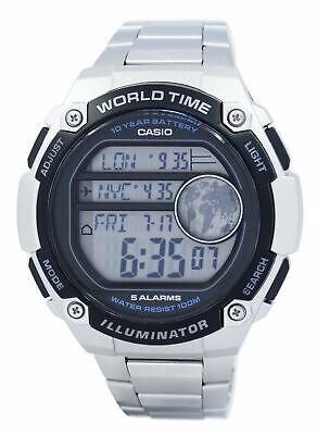 BRAND NEW CASIO OVERSIZE WORLD TIME DIGITAL WATCH AE3000WD-1AV **UK SELLER**