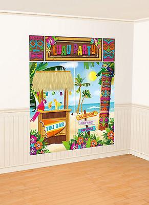 Hawaiian LUAU TIKI Bar wall decorating scene backdrop Party Decoration FREE - Hawaiian Party Backdrop