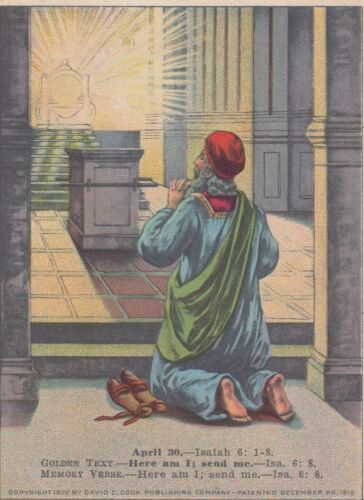 Vintage Trade Card   LESSON PICTURE CARD  APRIL 30.--ISAIAH 6: 1-8
