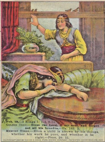 Vintage Trade Card  LESSON PICTURE CARD  FEB.19.--2  KINGS 5:1-4, 19-14