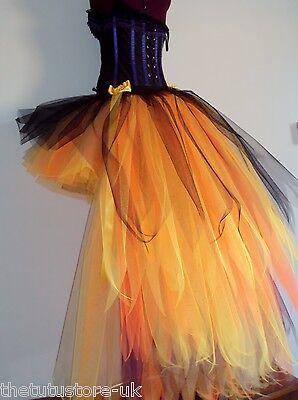 Black Burlesque Gold Bustle Tutu Skirt Halloween  Steampunk Cosplay