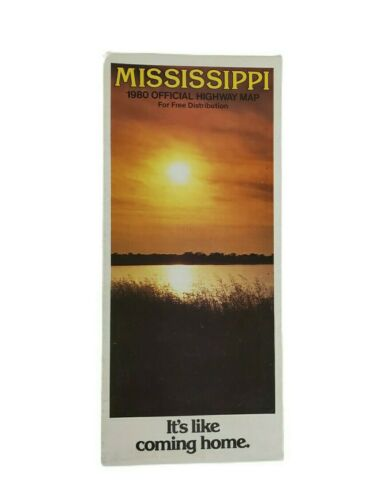Vintage 1980 Mississippi Official State Highway Department Road Map Sunset Photo