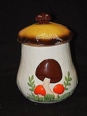 Old Vintage 70s Arnel's Mushroom Flour Canister w Lid Ceramic Kitchen Tool Decor